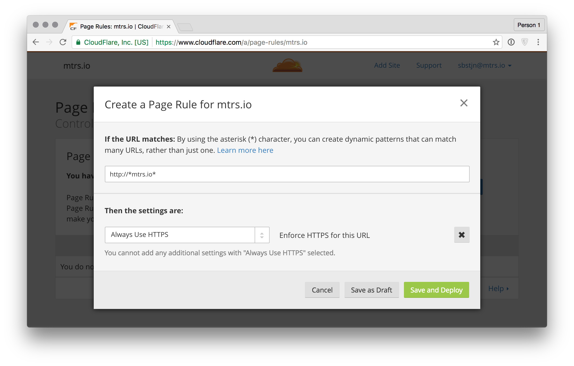 CloudFlare.com Rules - Redirect HTTP to HTTPS