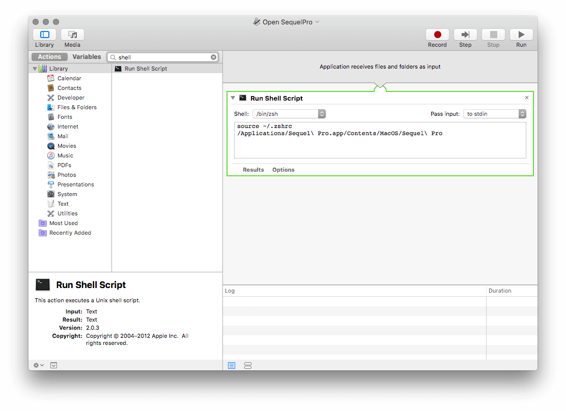 Automator: Run Shell Script